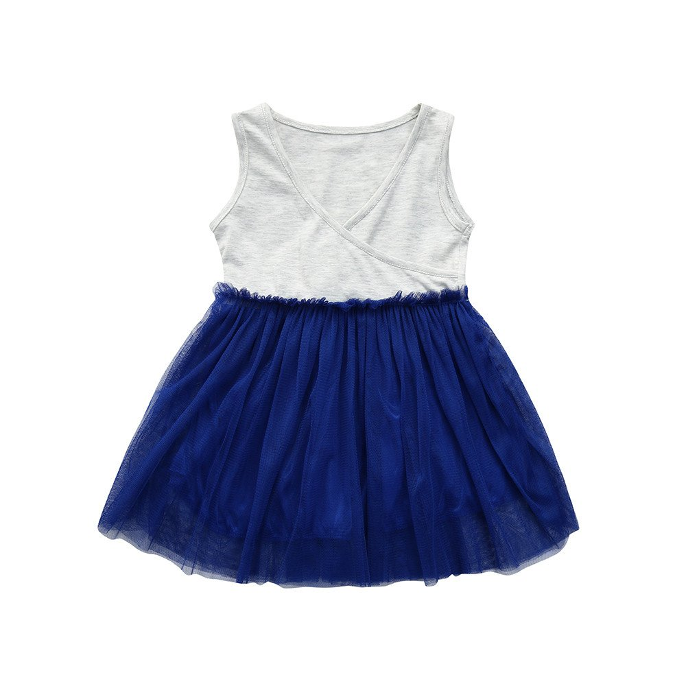 Dsood Infant Dress Boys,Kids Toddler Baby Girls Solid Sleeveless Princess Tutu Dress Clothes Outfits,Baby Clothing, 2019 Big, 8T Blue