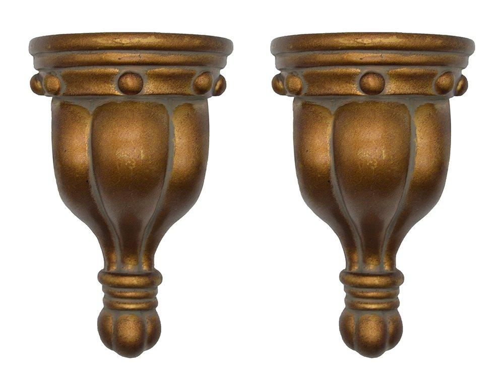 Urbanest Set of 2 Rigaud Drapery Sconce, 1 3/4-inch Diameter, Burnt Gold