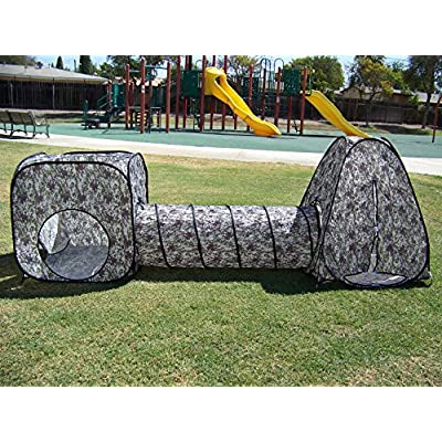 Petra Boys Camouflage Tunnel Play Tent. Indoor, Outdoor, Play Ground or Room Play Tunnel Hut. Comes with Carry Case & One Year Warranty. Kids Play Tent: Toys & Games