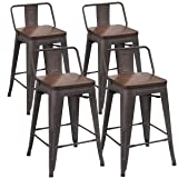 Tongli Metal Bar Stools Counter Height Stools Set of 4 Counter Height Barstools with Backs Patio Dining Chair Wooden Seat 24