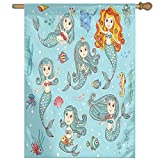 HUANGLING Cute Collection Of Mermaids With Different Types Of Sea Creatures Marine Decor Print Decorative Home Flag Garden Flag Demonstrations Flag Family Party Flag Match Flag 27''x37''