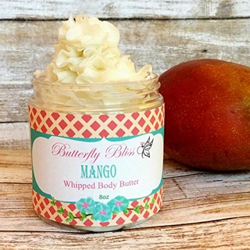 Mango Whipped Body Butter, natural lotion, organic, 8oz jar, made with shea butter, mango butter, coconut oil, almond oil by Butterfly Bliss Products