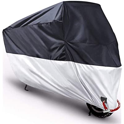 "Motorcycle Cover Outdoor Moped Scooter Large Cover 210D Prevent Rain Sun UV Dustproop with Lock Holes Rust Resistance and Buckle - Black Silver - XL 90.5""x37""x49"": Automotive"