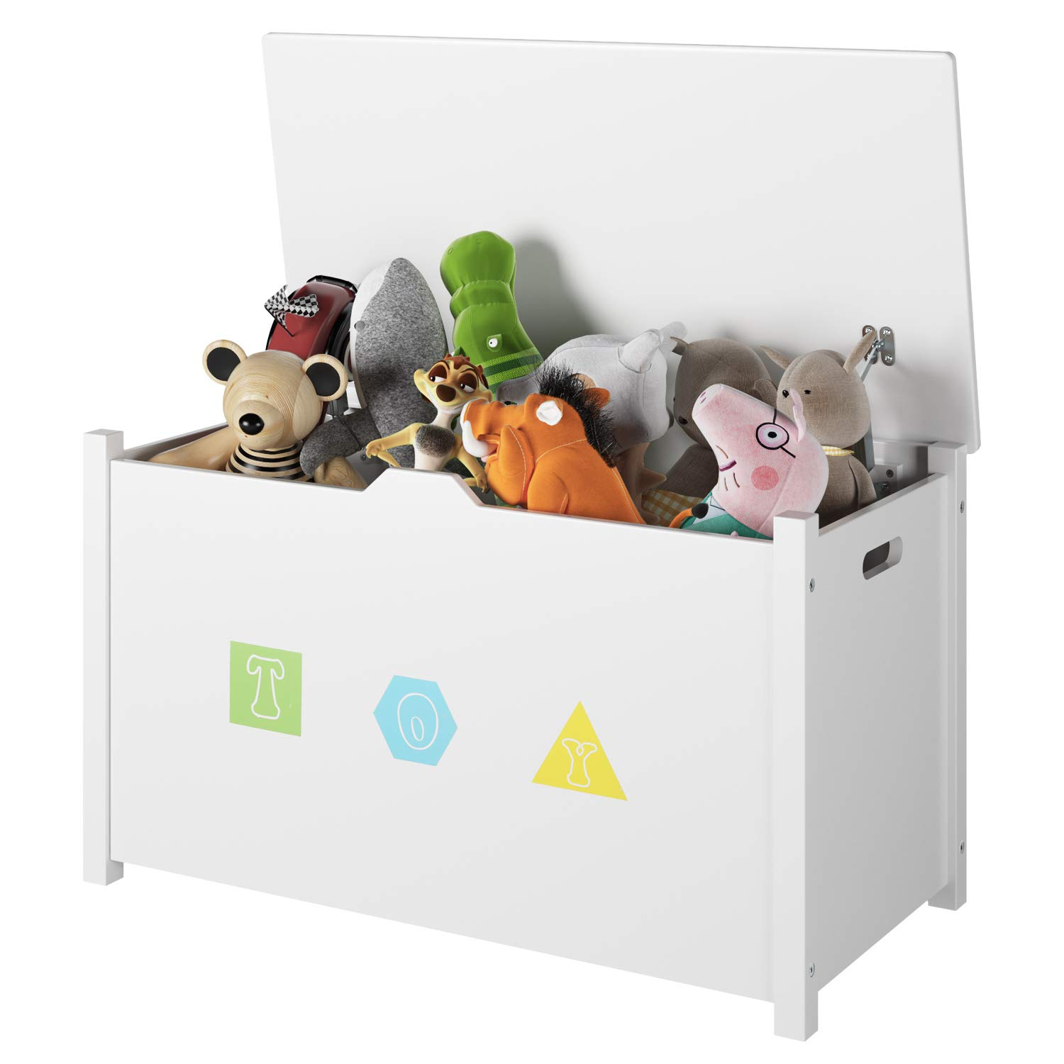 Homfa Wooden Kids Toy Chest with Flip-Top Lid, Large Sturdy Children Storage Cabinet Seat Bench Toddler Room Organizer Bin with 2 Safety Hinges for Nursery, Playroom, Home, White by Homfa