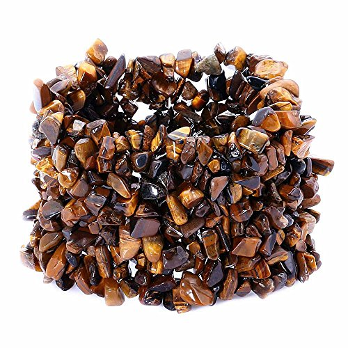(Gem Stone King Gorgeous Tigers Eye Simulated Gemstone Chips Chunky Stretch Bracelet)