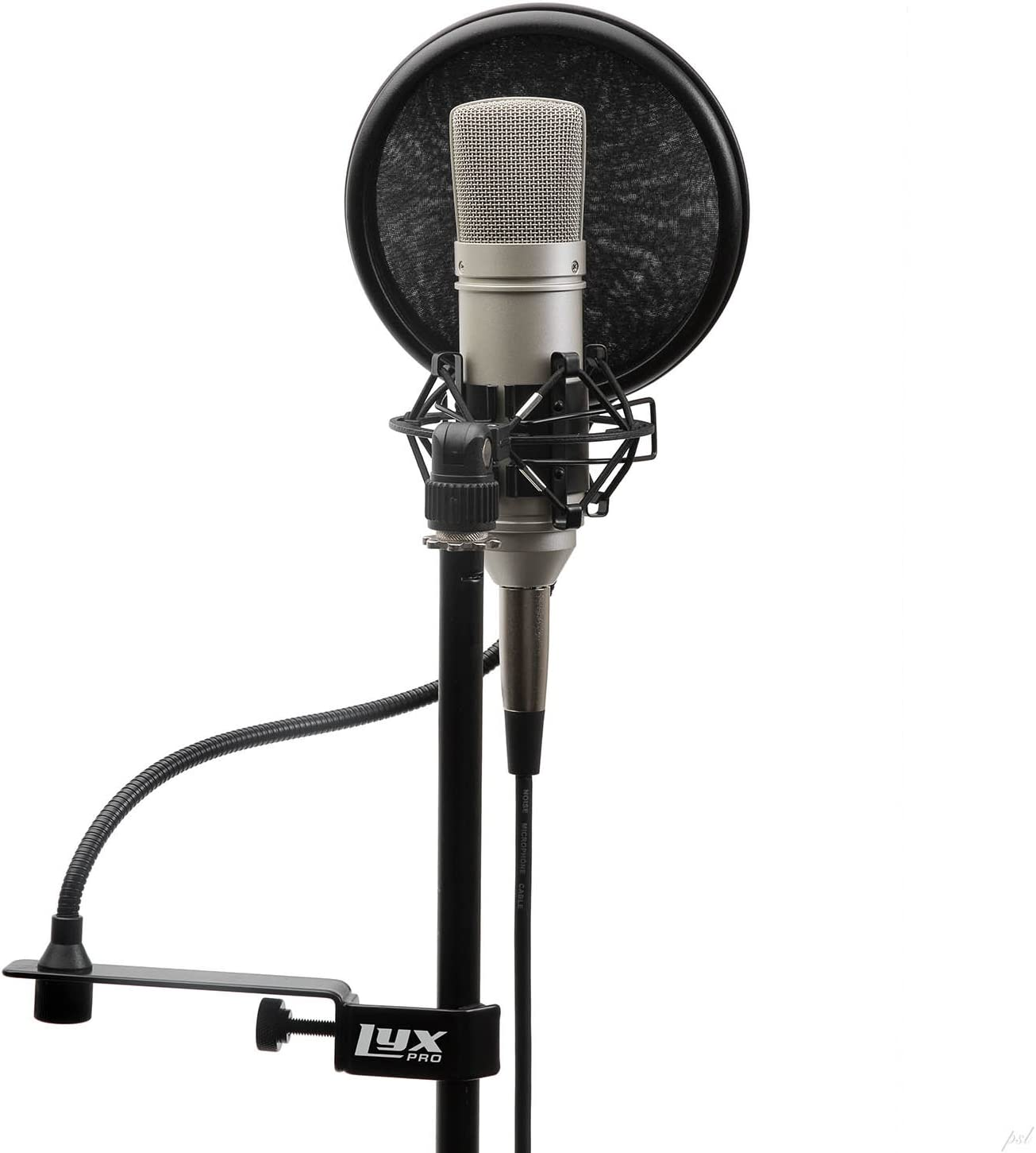 Pop Shield LyxPro MOP-28 Dual Layer Microphone Pop Filter with Flexible Goozeneck for Superior Vocal Performance