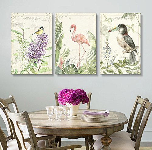 3 Panel Vintage Style Birds Flamingo Floral Background x 3 Panels