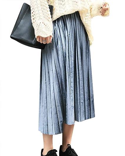 Mujer Falda Plisada Otoño Invierno Cintura Alta Metálico Lustre ...