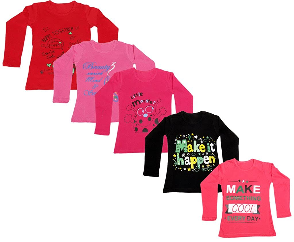Indiweaves Girls Cotton Full Sleeve Printed T Shirt Pack Of 510200 0001020307 Iw P Years Amazon In Clothing