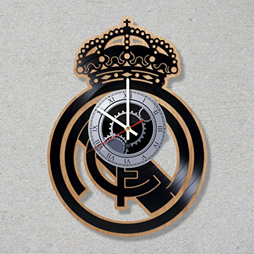 Vinyl Wood Record Wall Wooden Clock Football Champions Real League Madrid decor unique gift ideas for friends him her boys girls World Art Design