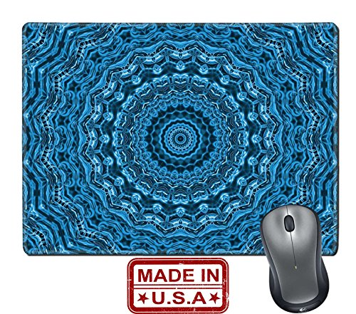 """Liili Natural Rubber Mouse Pad/Mat with Stitched Edges 9.8"""" x 7.9"""" Blue background with abstract radial pattern Image ID 23146207"""
