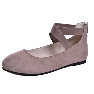 334d0410da98f Dear Time Women's Ballet Flats Ankle Elastic Crossing Strap Suede Ballerina  Shoes