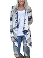 Phoenix Womens Geometric Print Casual Knit Cape Cloak Sweater Cardigan Coat