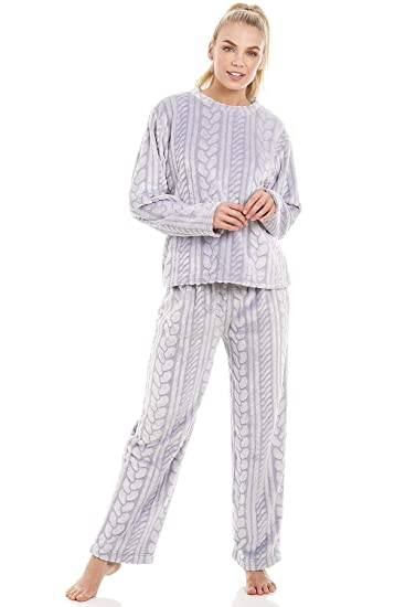 f457e9f078fd Camille Grey Supersoft Fleece Cable Print Pyjama Set  Amazon.co.uk ...