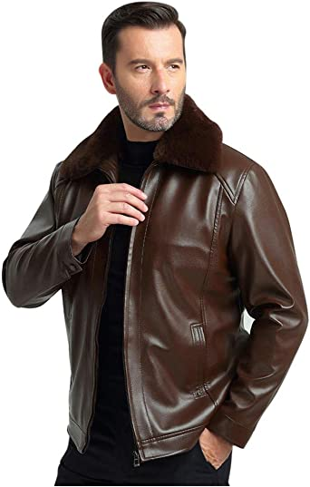 Winter Motorcycle Coat with Zip. Dengzi Mens Leather Jacket with Long Sleeves