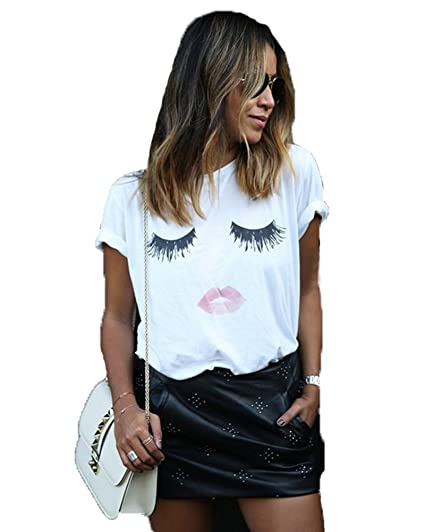 1067af3086 Womens Cotton Short Sleeve T Shirt Cute Eyelash Lips Tops Loose Crew ...