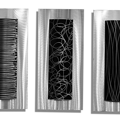 Black And Silver Kitchen Accessories: Statements2000 Contemporary Black & Silver Abstract Metal