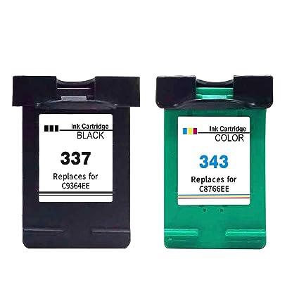 Ink_seller Remanufacturado HP 337 343 Cartucho de Tinta, 2 Paquetes (1Negro+ 1Tricolor) Compatibles con HP 337 HP 343 per HP Deskjet D4160 5940 6980 ...