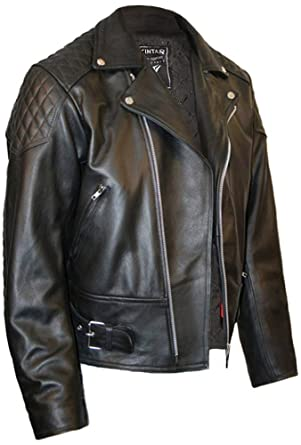 Mens Leather Biker Motorcycle Jacket By Skintan - Black: Amazon.co ...