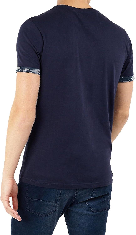 Mens Threadbare Crew Neck Floral Colusa Embroided T-Shirt Summer Lightweight Top