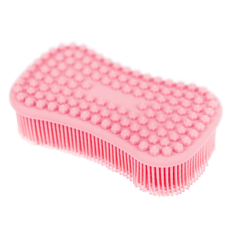 ELFRhino Bath Sponge 2 in 1 Silicone Shower Brush Massager Brush Gentle Scrub Skin Exfoliation For Face and Body Massage Nubs Improve Cellulite Black