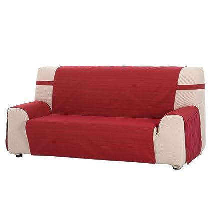 Funda Cubre Sofá Modelo Darsena, Color Rojo, Medida 3 Plazas – 170cm de Respaldo