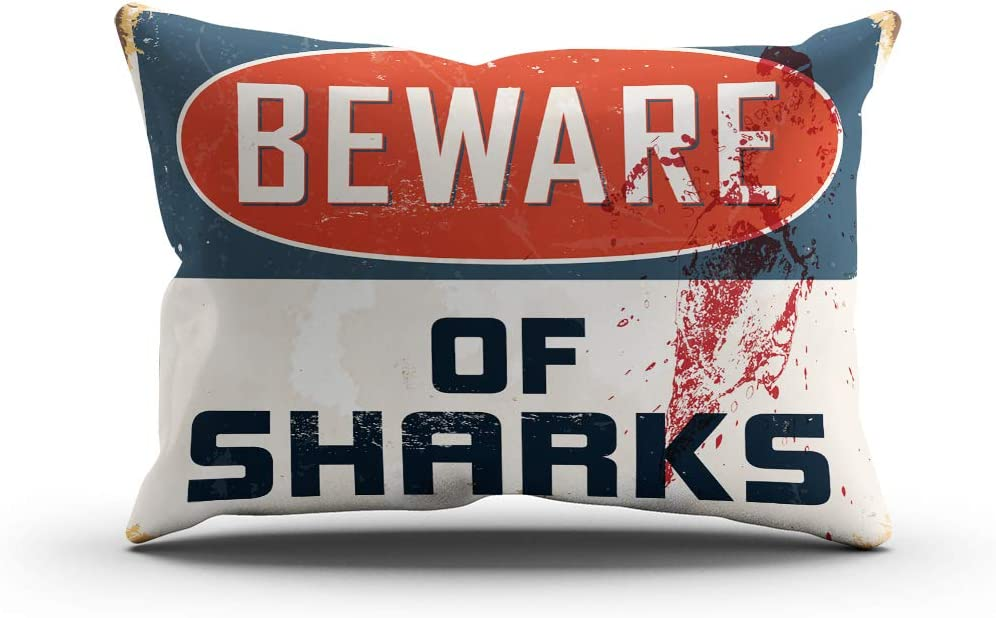 Moladika Sharks Throw Pillow Cover 12x24 Inch Lumbar Beware Vintage Metal Sign Realistic Cushion Home Decor Living Room Sofa Bedroom Office One Side Design Printed Pillowcase