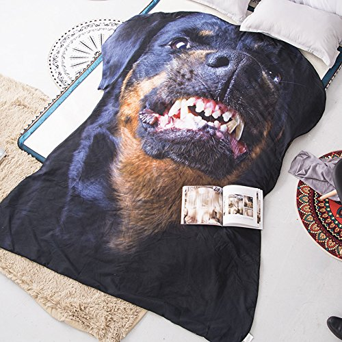3D Animals Rottweiler  Printing Summer Quilt Dog Bedding Blanket Kid Students Polyester Teens Comforter One Piece