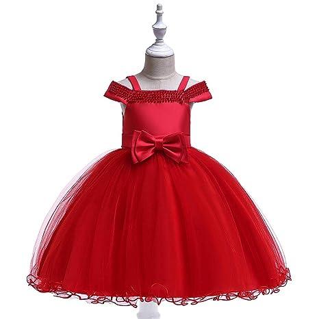 QZ Vestido de niña Sin Tirantes Una Palabra Hombro Princesa ...