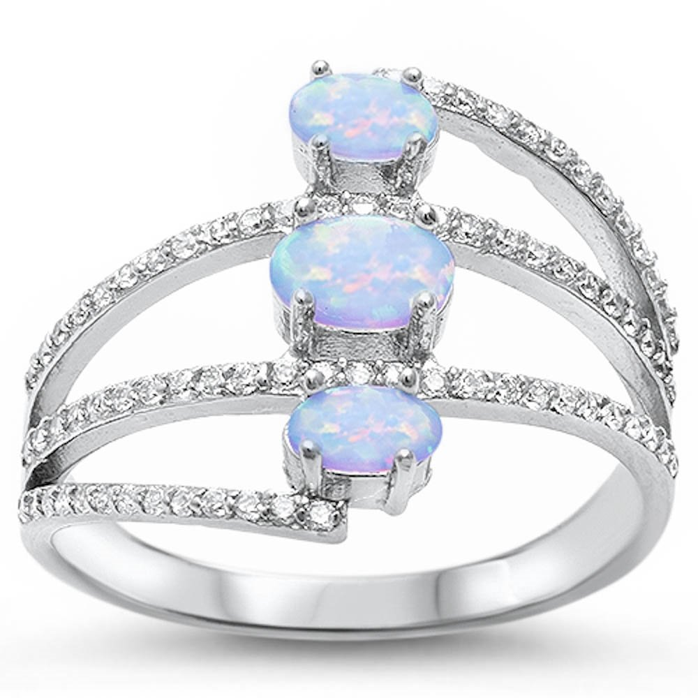 Beautiful Oval Lab Created White Opal & Cubic Zirconia .925 Sterling Silver Ring Size 6