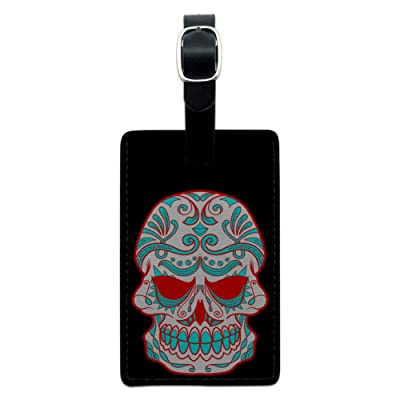 Mexican Day of the Dead Skull Leather Luggage ID Tag Suitcase Carry-On