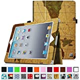 Fintie iPad 2/3/4 Case - Slim Fit Folio Case with Smart Cover Auto Sleep / Wake Feature for Apple iPad 2, the new iPad 3 & iPad 4th Generation with Retina Display, Vintage Winter Ice, Map Brown