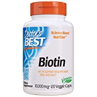 Doctor's Best Biotin 10,000 mcg, Supports Hair, Skin, Nails, Boost Energy, Nervous System, Non-GMO, Vegan, Gluten Free, 120 VC (DRB-00373)