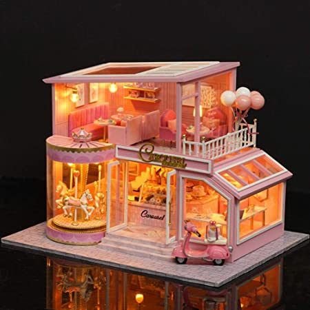 Dream Large Villa DIY Wood Dollhouse Light Miniature Furniture Kit Handcraf Gift