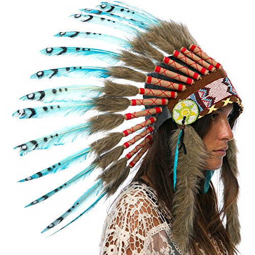 Feather Headdress- Native American Indian Style- Handmade by Artisan Halloween Costume for Men Women with Real Feathers - Turquoise Duck