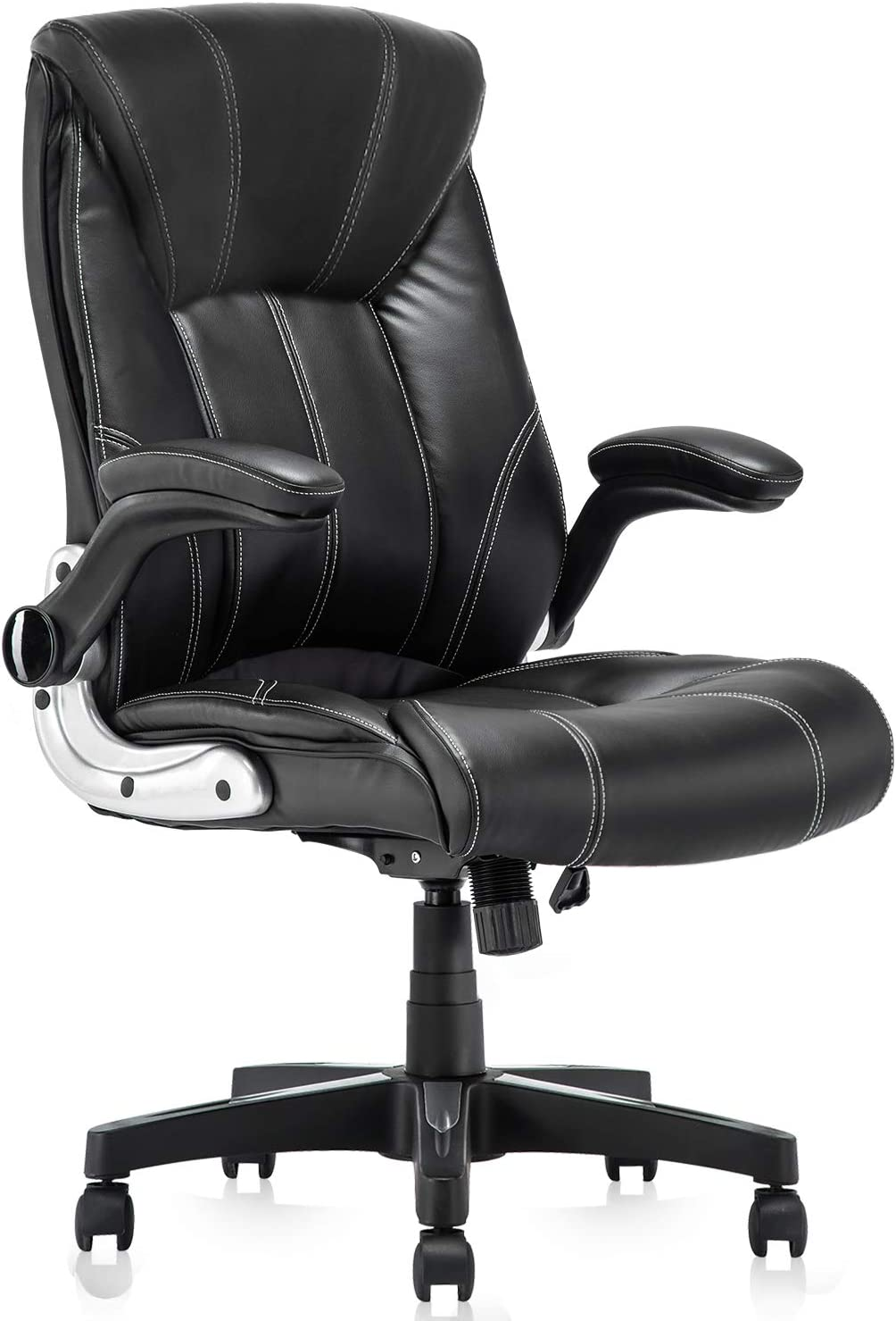 Amazon Com Yamasoro Leather Executive Office Chair Flip Up Arm Rests Ergonomic Chair Comfortable Massage Computer Desk Chairs Black Task Chair With Wheels For Home Office Office Products