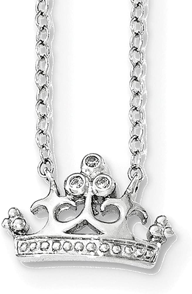 Lex /& Lu Sterling Silver CZ Crown Necklace 16
