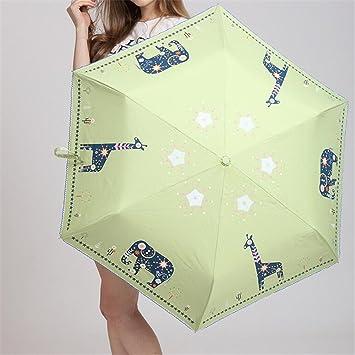 Ultra ligero de la mujer de dibujos animados animal impreso sombrilla paraguas viaje de verano Paraguas