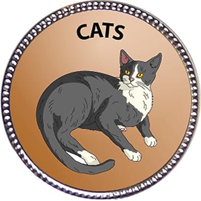 Keepsake Awards Cats Award, 1 inch Dia Silver Pin Pets Collection: Toys & Games