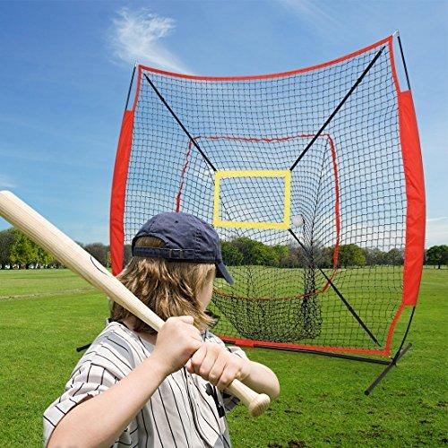 hj 6 Ft Portable Folding Practice Batting Net Softball Net Baseball Hitting Net with Bow Frame for Hitting, Pitching Backyard
