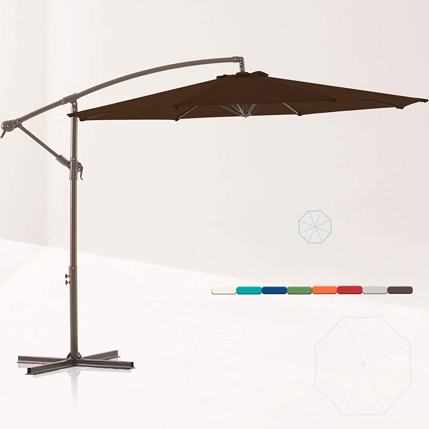 LE CONTE METZ 10 ft. Offset Hanging Patio Umbrella Cantilever Outdoor Umbrellas with Fade Resistant Solution-Dyed Canopy, Infinite Tilt, Crank & Cross Base (Coffee Brown)