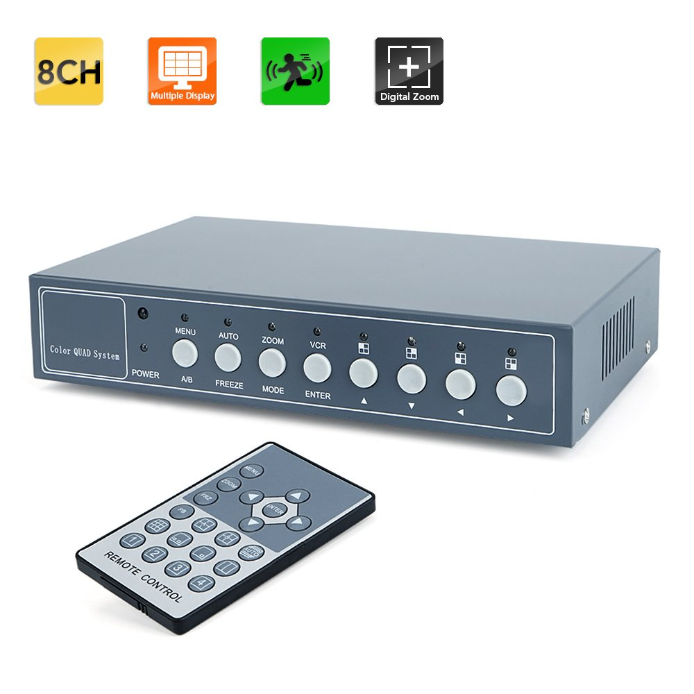 Toughsty™ 8Ch Color Non-Realtime Video Quad Processor CCTV Security Video Splitter with Audio & PIP