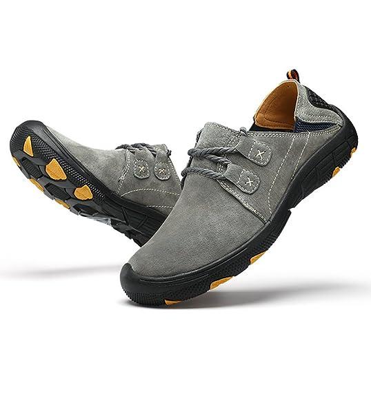 Yiiquan Männer Leichtgewicht Freizeit Flat Schuhe Retro Schnüren PU Leder Draußen Sport Schuh Loafers Grau 44 VY71oh