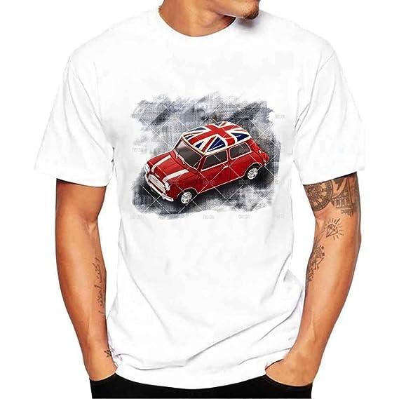 Gusspower Camiseta Hombre de Verano, Moda Hombres Chicos Bandera de Impresión Camisetas Camiseta de Manga Corta Blusa Tops de Talla…