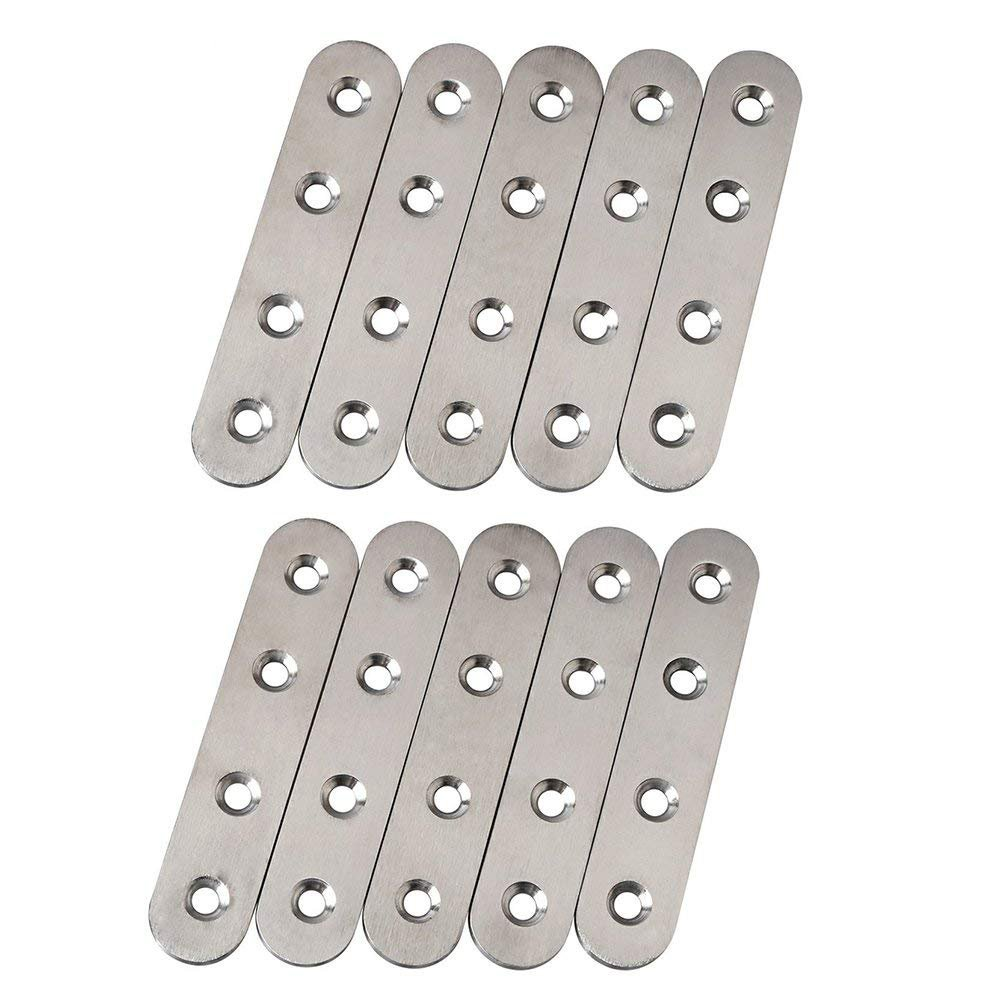BTMB 10 Pcs Stainless Steel Flat Straight Brace Shelf Support Brackets Mending Plates Repair Fixing Bracket Connector 97mm 3.8''