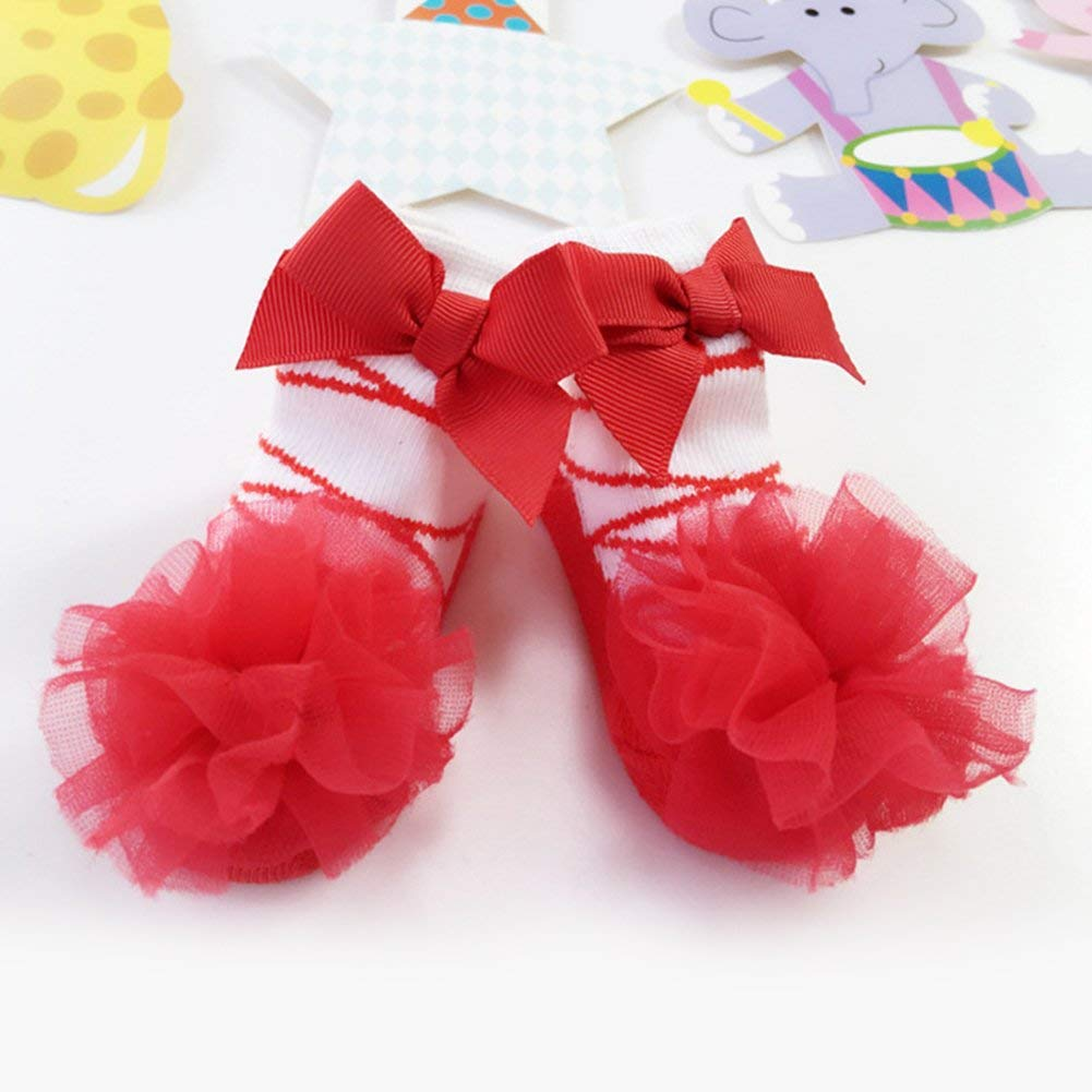 Wintefei Baby Infant Girls Princess Ballet Design Lace Bowknot Breathable Socks Decoration Hosiery Princess Sock