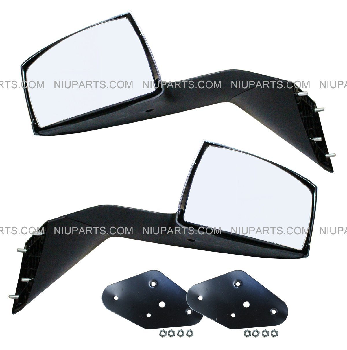 Hood Mirror Chrome Driver & Passenger Side with Mounting Kits (Fit: Volvo VNL VNM Truck) NIUPARTS