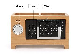 Capenlar calendrier multifonctions en bois porte stylo calendrier