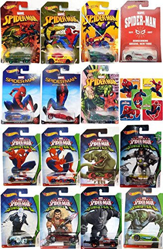 Hot Wheels Marvel Spider-Man Mega Set Homecoming Movie Exclusive set Collectible 7 car bundle Fuego Chase & Sinister 6 Doc Oc / Lizard / Electro / Rhino / Vulture / Green Goblin 8 Car Bundle