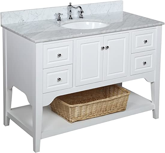 Washington 48-inch Bathroom Vanity Carrara White Includes White Cabinet with Soft Close Drawers, Authentic Italian Carrara Marble Countertop, and White Ceramic Sink